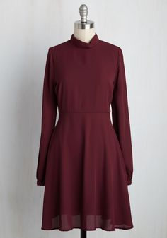 Buckingham Palates Dress. Your UK adventure continues with a classic British lunch before passing by the palace, and in this burgundy dress, your appetite for chic style is already satisfied! #red #modcloth