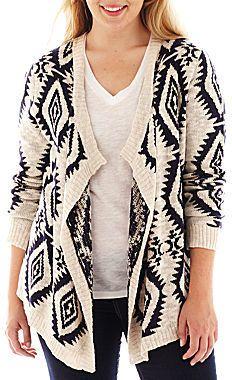 Plus Size Long-Sleeve Aztec Cardigan - Plus Size - Sale: $21.99