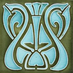 relief pressed Art Nouveau tile with a stylised whiplash design in pale blue on an olive-green ground. Art Nouveau Tiles, Art Nouveau Design, Antique Tiles, Vintage Tile, Azulejos Art Nouveau, Art Nouveau Pattern, Bullet Journal Ideas Pages, Decorative Tile, Arts And Crafts Movement