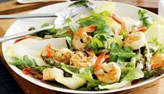 Yield: 4 servings Serving size: 3 cups salad, shrimp, 1 heaping tablespoon dressing Ingredients Zesty Caesar Dressing: (makes ⅓ cup) 2 tablespoons light mayonnaise 2 tablespoons lemon juice 1 teaspoon shredded Parmesan cheese 1 teaspoon minced garlic Healthy Dishes, Healthy Salads, Healthy Eating, Healthy Recipes, Healthy Lunches, Healthy Foods, Work Lunches, School Lunches, Healthy Cooking