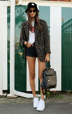 H&M Coat, Forever 21 Shorts, Topshop Backpack, Nike Sneakers, T Shirt, Choies Sunglasses, Stüssy Buquet Hat