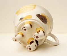 cat mug legs