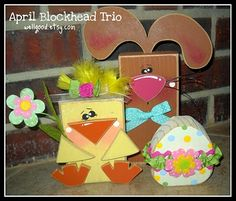 Rabbit, chick, and egg blocks - adorable!  She sells this as an unfinished set around April for about $10. Great deal!