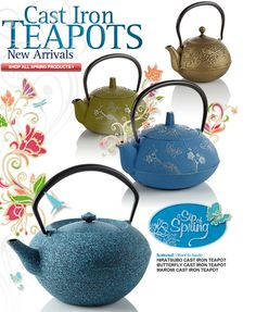 Love the blue cast iron teapot with almond branches and butterflies
