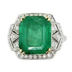 Vintage Style Emerald Yellow Gold Platinum Diamond Cocktail Ring | eBay