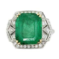 Vintage Style Emerald Yellow Gold Platinum Diamond Cocktail Ring | eBay