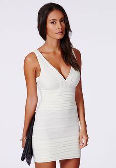 507851782e6 Missguided Leena Bandage Bodycon Dress in Peach in Orange