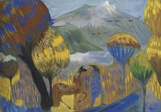 lawrenceleemagnuson:  Martiros Saryan (Armenia 1880-1972)The Poet (on the Foothills of the Aragats)tempera on board 25 x 35 cm
