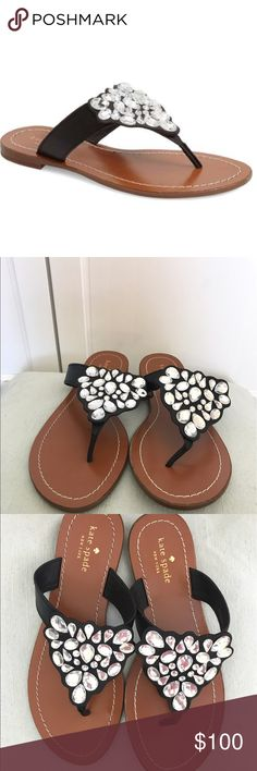 """Kate Spade 'Cora' Embellished Sandals Versatile, stylish, and gorgeous sandals - low stacked heel - sparkly thong - embellished jewels - leather upper lining/rubber sole - 0.4"""" heel - Kate Spade New York - never been worn - perfect condition - NWT kate spade Shoes Sandals"""