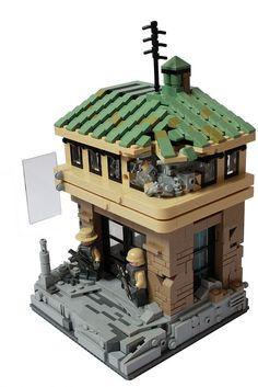 LEGO WW2 Guard Station Lego Ww2, Lego Army, Lego Pictures, Lego Craft, Lego Construction, Lego Room, Lego Worlds, Cool Lego Creations, Lego Design