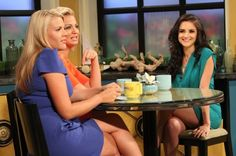 Rachael Leigh Cook talks about her new TNY series 'Perception' to guest co-hosts Michelle Beadle and Busy Philipps on the set of Access Hollywood Live on July 9, 2012