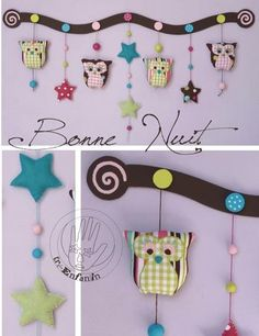 owl wall motif!  So cute, must make!!  Free pattern!!  It's in French, but pretty easy to figure out:)