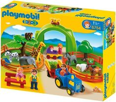 Playmobil Large Zoo by Playmobil. $53.29. 19.7 x 15.7 x 3.9 inches. Please note: This item may ship in the original manufacturer shipping carton which contains Playmobil logos as well as a tiny picture of the item enclosed. Please consider shipping to an alternate address if this is a gift.. The wild animals of the African savannah cavort around their enclosure while local animals such as the donkey, sheep and horse are waiting for the visitors to the zoo in a second pasture....