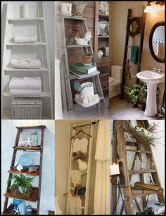 Cool ideas for repurposing old ladders! Now if I just convince my husband to give the ladder to me!!!