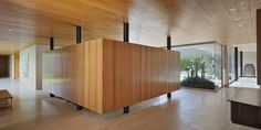 Love the floating wood + glass.
