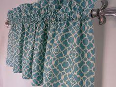 Turquoise Valance, Waverly Lovely Lattice Aqua White Valance for the Kitchen, Bathroom, Beach House Curtain, Teal Valance Window Treatment