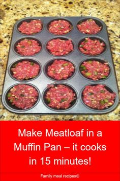 Make Meatloaf in a Muffin Pan – it cooks in 15 minutes! - Family meal recipes - - Make Meatloaf in a Muffin Pan – it cooks in 15 minutes! – Family meal recipes Meatloaf recipes Make Meatloaf in a Muffin Pan – it cooks in 15 minutes! Mini Meatloaf Muffins, Mini Meatloaf Recipes, Hamburger Meat Recipes, Muffin Tin Meatloaf, Meatball Recipes, Muffin Pan Recipes, Meal Recipes, Cooking Recipes, Healthy Recipes