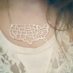 Continental U.S.A. map necklace
