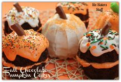 Fall Chocolate Pumpkin Cakes..starts with a mix!