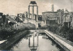 Vintage Italian Postcard 1950s - Rome, Italy - Black and white Real Photo Postcard - continental size card - Casa De Vestali ROMA
