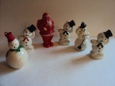 6 Vintage Hard Plastic Snowman & Santa Christmas Tree Ornaments Sucker Holder