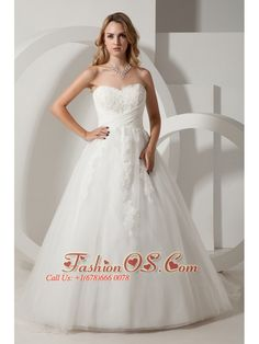 Simple A-line Sweetheart Wedding Dress Appliques Court Train Taffeta and Organza- $197.76  http://www.facebook.com/quinceaneradress.fashionos.us  http://www.fashionos.com  | 2013 spring bridal dress | asheville north carolina | ball gown bridal dress with court train | strapless ball gown with appliques | organza ball gown with appliques | a line wedding dress with appliques and floor length |