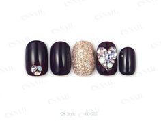 Esnail, black nails, bling, pretty nail art