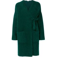 P.A.R.O.S.H. fluffy knitted cardigan coat (8.590.220 IDR) ❤ liked on Polyvore featuring outerwear, coats, jackets, cardigan coat, cardigan jacket and green coat