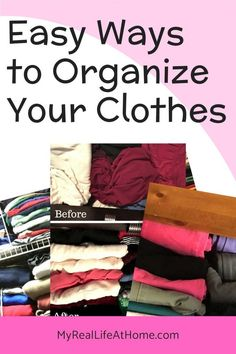 Easy Ideas on how to organize your clothes and closets. Also includes how to fold your clothes so you can save space and see your clothes #howto #clothesorganization #howtofoldclothes #konmari #howtofoldclotheskonmari #clothesstorage #organizinghacks #organizecloset #organizedrawers #howtoorganizeyourcloset House Cleaning Checklist, Cleaning Hacks, Diy Hacks, Cleaning Supplies, How To Organize Your Closet, Organizing Your Home, Organizing Tips, Organisation Hacks, Organization
