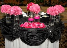 wedding idea-Head table, hot pink, black, and white
