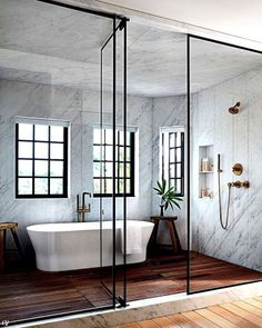This incredible walk-in shower and tub situation is so spa-like I'd never want t… This incredible walk-in shower and tub situation is so spa-like I'd never want to leave! Step Inside Jessica Alba's Haven in Los Angeles Wet Room Bathroom, Dream Bathrooms, Beautiful Bathrooms, Small Bathroom, Bathroom Niche, Bathroom Ideas, Shower Ideas, Spa Master Bathroom, Ocean Bathroom