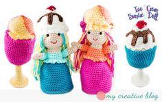 Ice Cream Sundae Doll Crochet Pattern #amigurumi #crochetdoll #crochetpattern #crochet