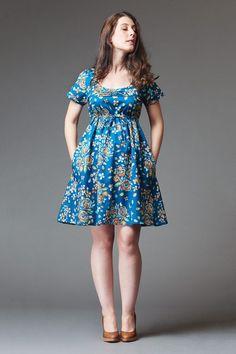 A lined, empire-waist dress.