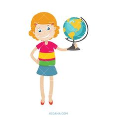 kid student and globe character vector illustration #kid #character #cartoon #kidaha Student Cartoon, Kid Character, Tweety, Boy Or Girl, Globe, Things To Come, Clip Art, Learning, Illustration