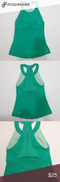 Lululemon Green Athletic Halter Top Lululemon Green Solid Mesh Detail Back Cut Out Detail Athletic Halter Top Size 6 .Great Preowned condition lululemon athletica Tops Tank Tops