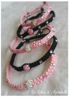 Bracelet shamballa rose perle brillante et strass