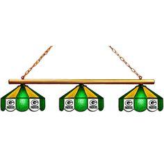 3 Shade Glass Billiards Light - Green Bay Packers