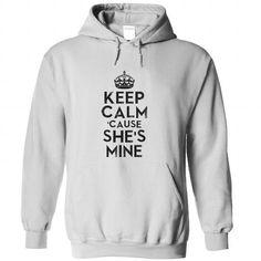Keep calm cause shes mine - #tshirt feminina #band hoodie. BUY IT => https://www.sunfrog.com/LifeStyle/Keep-calm-cause-shes-mine-White-80265022-Hoodie.html?68278