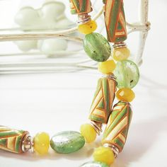 Green Twists Kyanite Yellow Opal Necklace £30.00 by Shoogly Beads