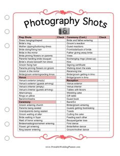 Photography Checklist