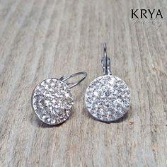 14mm Swarovski Crystal Steel lever back earrings - Surgical Steel Jewelry - french clip by SteelJewelryShop on Etsy