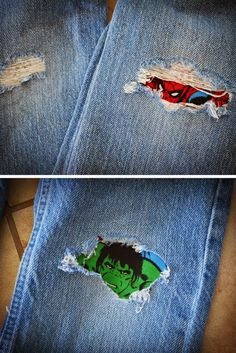 Custom DIY Iron on Patches for Jeans.  Repair those torn jeans.  Super cute with action figures, any characters or patterns would work.  Great for kids and adult worn out jeans.
