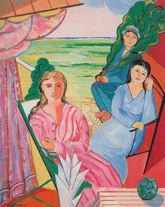 Figuras na Varanda - Cícero Dias e suas principais pinturas ~ Pintor pernambucano Pink Painting, Art Station, Traditional Art, American Art, South America, Disney Characters, Fictional Characters, Pink Ladies, Aurora Sleeping Beauty