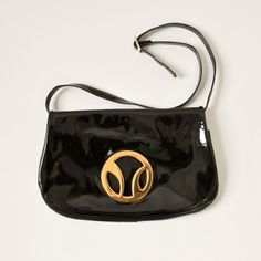 vintage 1960s Meyers black and gold patent leather purse by RockAndRollVintage, $48.00