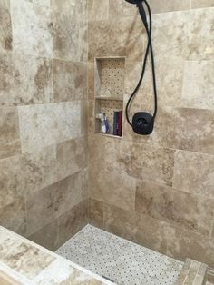 Bathroom shower tile - Bucak Light Walnut Polished Travertine Wall Tile - 12 x 24 in.