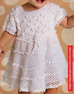 "diy_crafts-PINK ROSE CROCHET: Vestido Branco Lindo para Meninas ""Croche pro Drink: Dresses in crochet"", ""Dair held Alex tightly and gently str Crochet Toddler Dress, Baby Girl Crochet, Crochet Baby Clothes, Crochet For Kids, Little Girl Dresses, Beautiful Crochet, Crochet Designs, Baby Knitting, Baby Dress"
