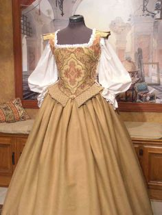 Middle or Merchant Class Elizabethan gown Mode Renaissance, Costume Renaissance, Medieval Costume, Renaissance Clothing, Renaissance Fashion, Medieval Dress, Historical Clothing, Steampunk Clothing, Old Dresses