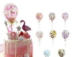 Confetti Balloon Cake Topper Decoration with Paper Straw Ribbon Table Baby Shower One Birthday Wedding Party Supplies – Garden & Home Clear Balloons, Mini Balloons, Foil Balloons, Balloon Ribbon, Balloon Cake, Bow Baby Shower, Baby Shower Balloons, Confetti Balloons Wedding, Gold Confetti