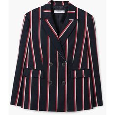 Striped Suit Blazer (6.380 RUB) ❤ liked on Polyvore featuring outerwear a58ca6932