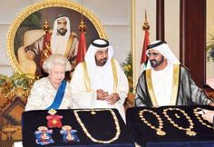 The Queen presented Shaikh Khalifa with the Knight Grand Cross of the Most Honourable Order of the Bath, Royal Military Academy Sandhurst, Military Divisions, King George Iv, Military Orders, Royal Party, Grand Cross, William The Conqueror, Duke Of York, Queen Elizabeth